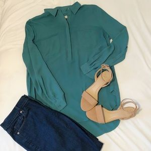 Half button sage blouse (Loft)